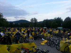 Bike covers coming off in transition. Ironman Austria 2013